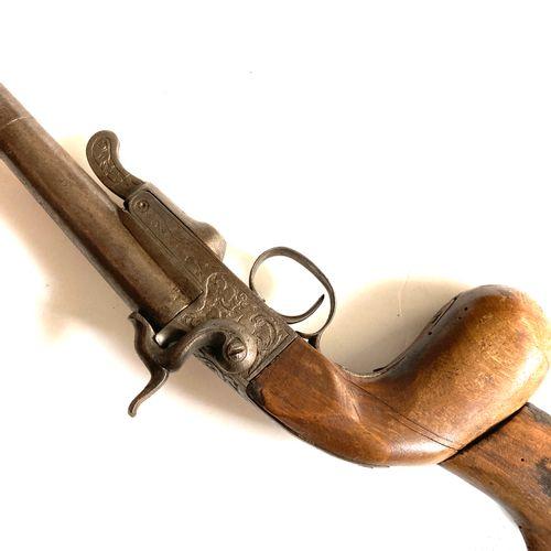Fusil « de braconnier, canon dévissable de 79 cm, calibre 14 mm à broche, ouvert…