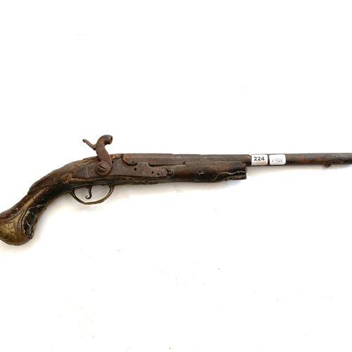 Pistolet, platine de 125 mm, transformée percussion, canon de 32 cm, monté à aig…