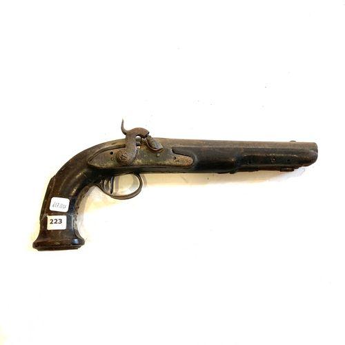 Pistolet pour officier, canon à pans puis rond de 21,5 cm, platine a silex de 12…
