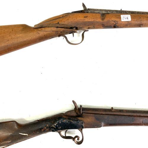 Carabine système Flobert, calibre 9 mm Flobert, canon à pans de 56 cm, LT 95 cm,…