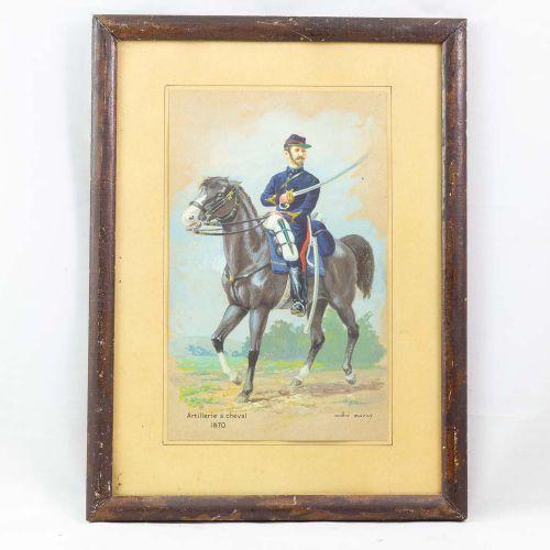 ANDRE MARCY, sept aquarelles de soldats en uniforme dont six encadrées, usures à…
