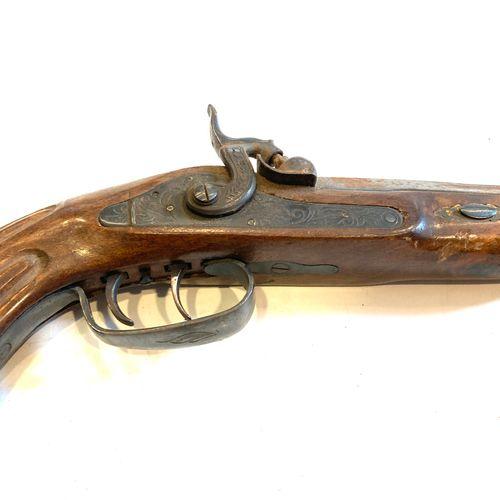 Pistolet de tir à percussion, canon octogonal bronzé de 27 cm, calibre 12 mm, ra…