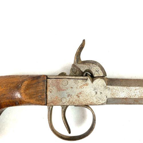 Paire de pistolets de voyage à balle forcée, système à percussion, la crosse en …