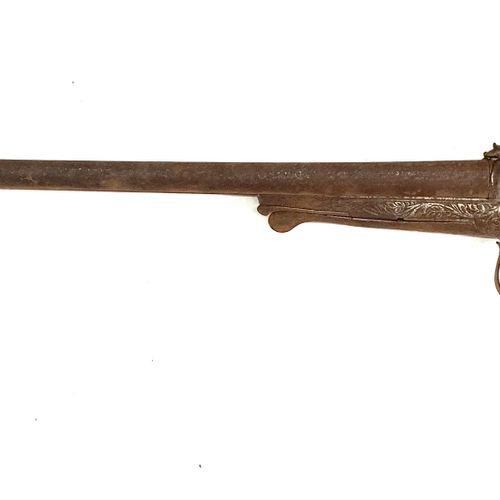 Fusil de chasse à broche, canons en table de 75 cm calibre 16, mécanisme entière…