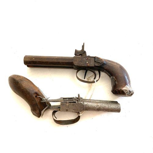 Pistolet à coffre à canon double, LT 22 cm, mécanisme à réviser, usure, oxydatio…