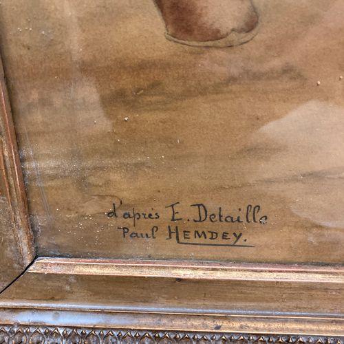 Paul HEMDEY, d'après E. DETAILLE  Aquarelle réhaussée de gouache sur papier, hus…
