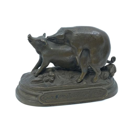 CURIOSA. ANIMAL BRONZE. To Lard Lovers, circa 1900. Bronze titled with brown pat…