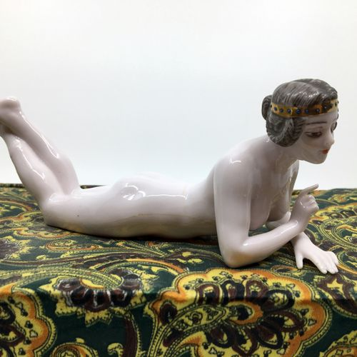 DRESSEL & KISLER. Young naked woman lying down, Germany, circa 1890. Porcelain, …