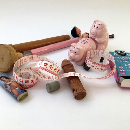 [8 MISCELLANEOUS ITEMS]. Couple of pigs in action, end of the 20th century and m…