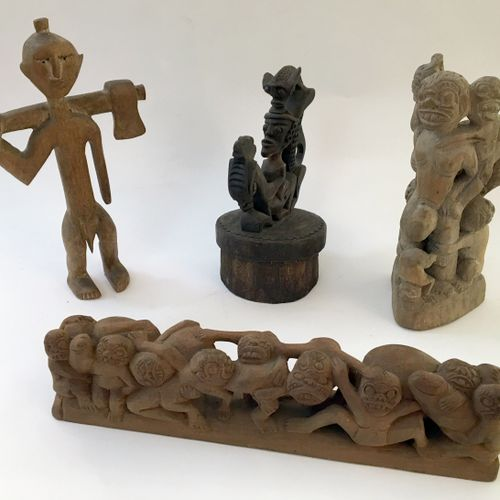 BALI. Characters, mid 20th century. 4 wood carvings, various sizes.