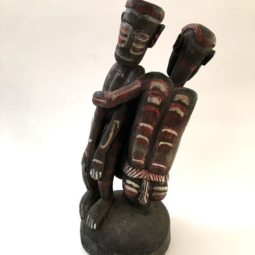 BALI. Couple, mid 20th century. Wood carving, 35 cm.