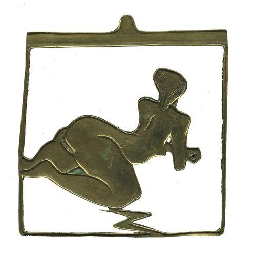 CURIOSA JEWEL. [Unidentified artist]. Study of nude back, circa 1970. Brass pend…