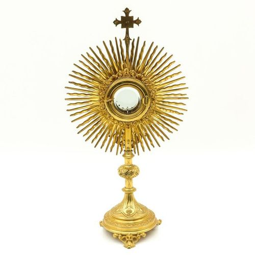 A 19th Century Monstrance 19th century gilded decorated with cut crystals height…