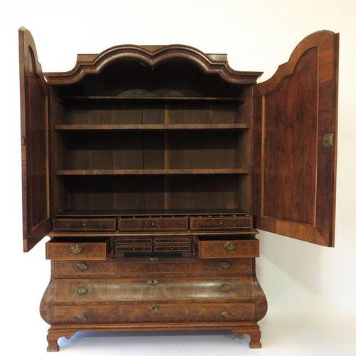 An 18th Century Walnut Veneer Cabinet With walnut veneer and desk in drawer heig…