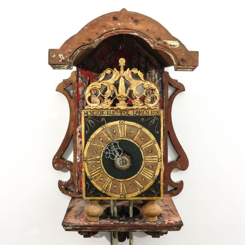 A Dutch Goslink Ruempol Wall Clock with verge escapement and striking mechanism,…
