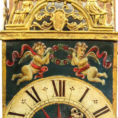 A Dutch Wall Clock Groningen, with 1 hand, ca.1750, chair height 78 cm.