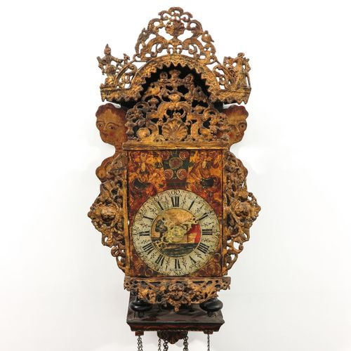 A Dutch Wall Clock Friesland, 18th century, with beautifully painted chair, heig…