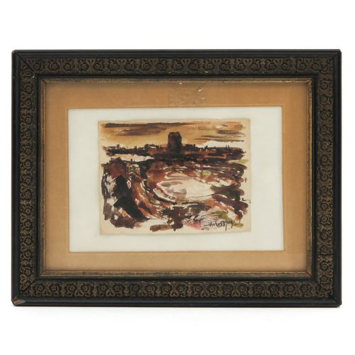 A Signed Watercolor Abstract representation, signed Victor Hugo, 14 x 10 cm.