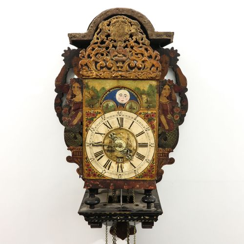 Freisland Wall Clock Friesland, 18th century, with double bell, moon and date di…