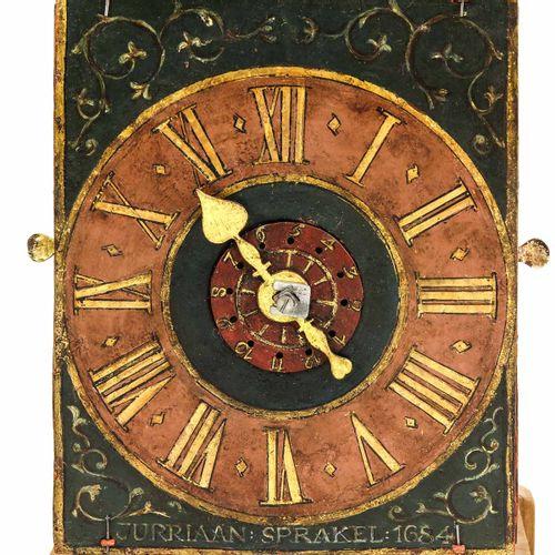 A Dutch Wall Clock Holland, signed Juriaan Sprakel, 1684, height 77 cm.