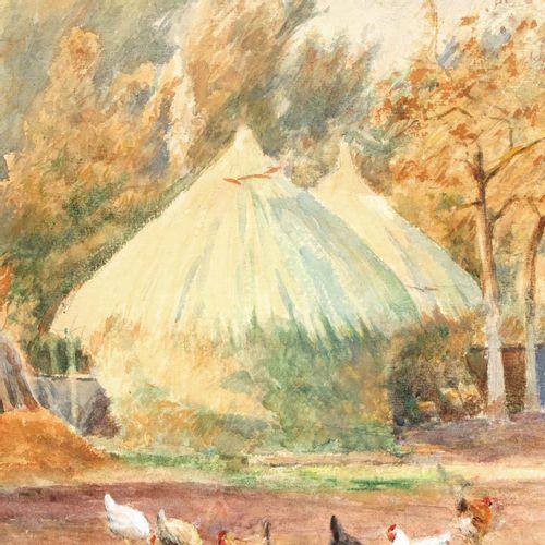 A Signed Watercolor Depicting farmyard, signed T. V.D. Bossche, 47 x 32 cm.