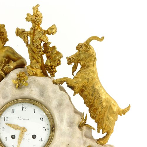 A French Pendule France, Louis XVI, white marble with ormolu images of Bachus an…