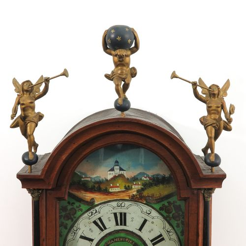 A Dutch Wall Clock Friesland, Staartklok, 19th century, length 130 cm.