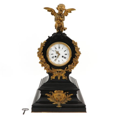 A French Pendule France, 19th century, made of black marble, signed Paillard & R…