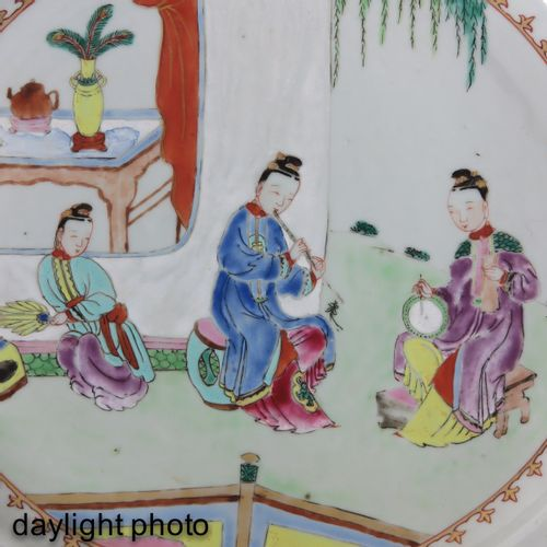 A Famille Rose Charger Depicting gathering of Chinese ladies in garden with flor…