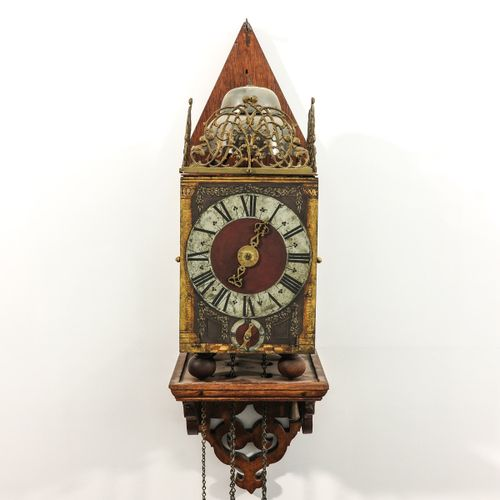 A Dutch Wall Clock West Friesland, gong and percussion on 2 bells, ca. 1665, cha…