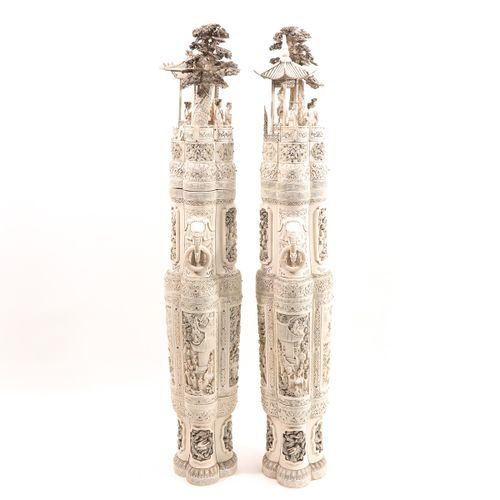 A Pair of Carved Vases with Covers 2 very large antique vases with covers with l…