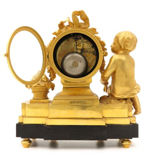 French Pendule France, ormolu, with a picture of putti, ca.1750, signed Le Nepve…