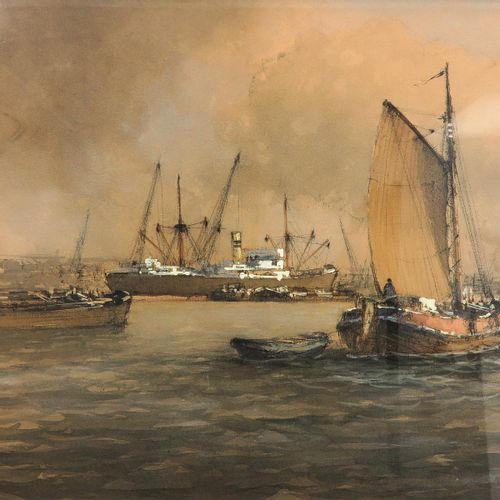 A Signed Watercolor Depicting harbor view, signed M. De Jongere, 77 x 39 cm.