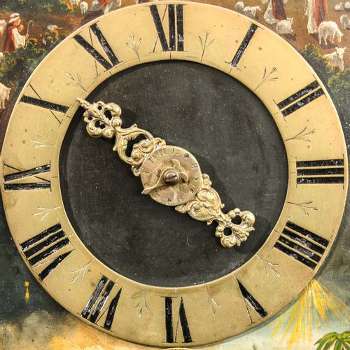 A Wall Clock 18th century, beautifully painted dial, striking mechanism on 2 bel…