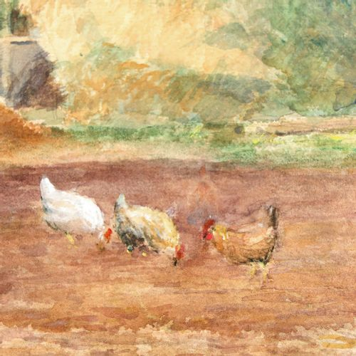 A Signed Watercolor Depicting farmyard, signed T. V.D. Bossche, 47 x 32 cm.