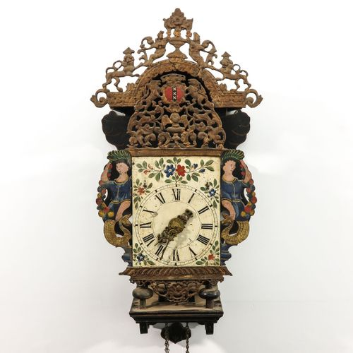 A Dutch Wall Clock Friesland, with gong percussion on half and full hours, seat …