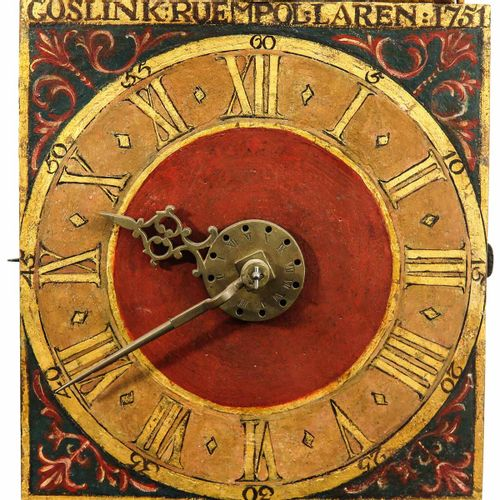 A Dutch Goslink Ruempol Wall Clock with gong and striking mechanism on half and …