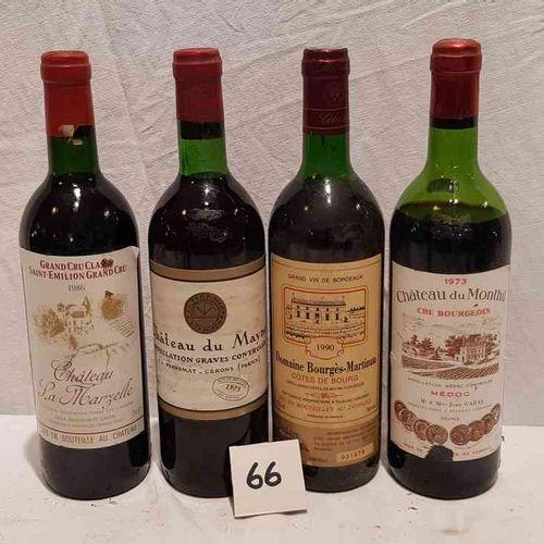 Lot de 4 bouteilles avec 1 bouteille château LA MARZELLE 1986 SAINT EMILION GRAN…