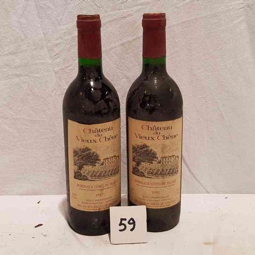 2 bouteilles château DU VIEUX CHENE BORDEAUX COTES DE FRANCS 1990. Etiquettes po…