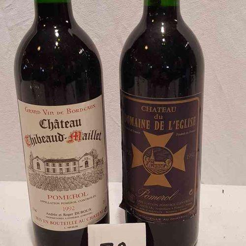 Lot de 2 bouteilles dont 1 bouteille château DU DOMAINE DE L'EGLISE 1991 POMEROL…