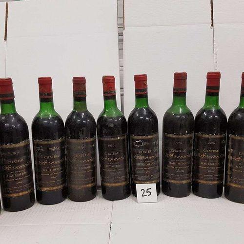 12 bouteilles château ARNAULD 1970 Haut Médoc 3 mi épaule, 6 haut épaule, 3 bas …