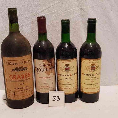 Lot comprenant: 1 magnum château DE BUDOS 1980, 1 bouteille du DOMAINE DE COURLA…