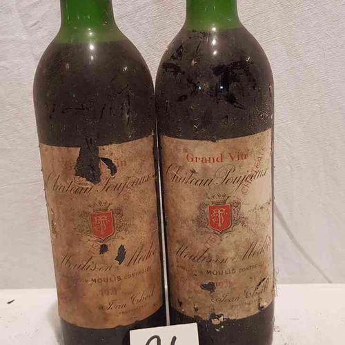 2 bouteilles château POUJEAUX 1971 MOULIS. Etiquettes déchirées et très tachées.…