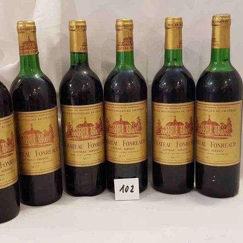 6 bouteilles château FONREAUD 1975 LISTRAC MEDOC CRU BOURGEOIS. Etiquettes parfa…