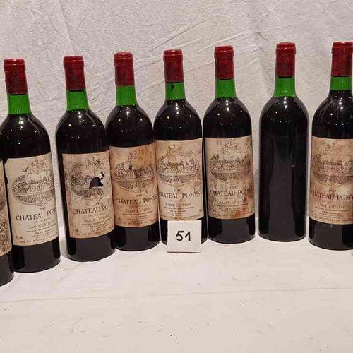 12 Bouteilles château POMYS 1985 SAINT ESTEPHE. Etiquettes très tachées dont 2 m…
