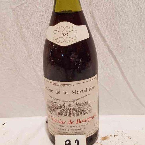 1 bouteille DOMAINE DE LA MARTELLIERE 1987 SAINT NICOLAS DE BOURGUEIL. Bonne pré…