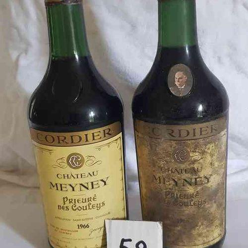 2 Bouteilles château MEYNEY 1966 SAINT ESTEPHE. 1 étiquette poussieureuse, bons …