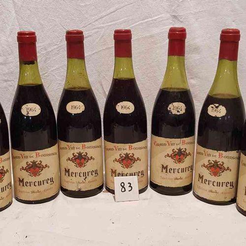 8 bouteilles MERCUREY 1964. Etiquettes en bon état. 3 mi épaule, 5 bas goulot.