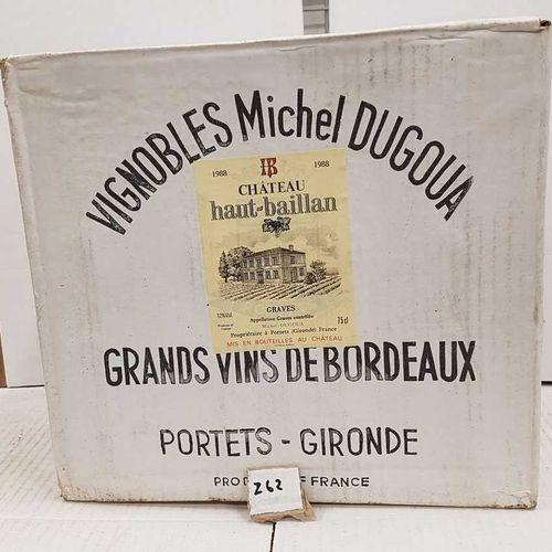12 bouteilles château HAUT BAILLAN 1988 Graves blanc. Carton d'origine non ouver…