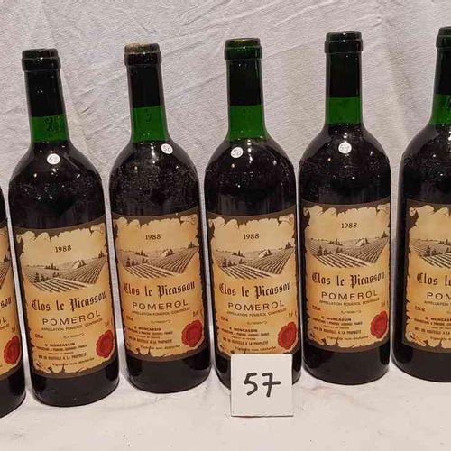 Lot de 6 bouteilles CLOS LE PICASSOU. POMEROL. 1988. Etiquettes parfaites, 3 bas…